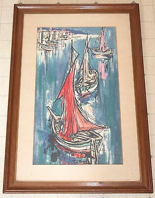 Mid-Century Modern ABSTRACT SAILBOATS Framed Vintage Lithograph Print