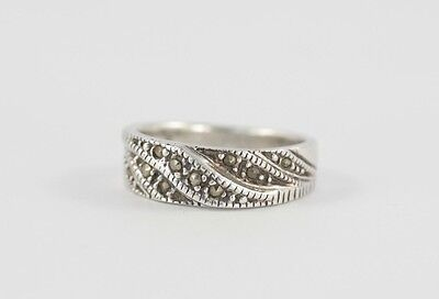 Sterling Silver Marcasite Band Ring 925 Size N 1/2