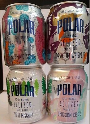 Polar Seltzer 4 LIMITED EDITION water Unicorn Kisses Yeti Mermaid Dragon cans