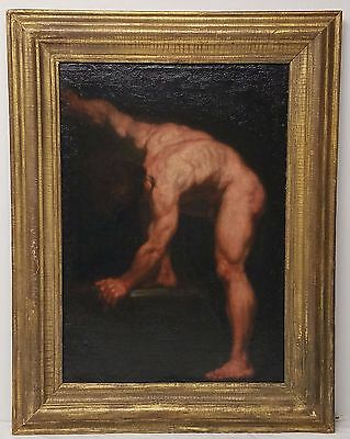 Antique 17th or 18th Century Oil Painting on Canvas Male Torso Figure Study