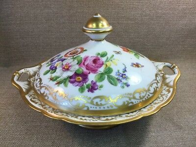 Antique French Old Paris Porcelain vegetable Covered Tureen Bowl Butterflies