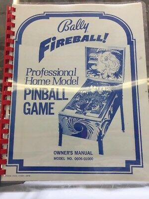 Bally Fireball Pinball Game Owners Manual 0606-01000 By Midway