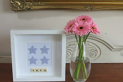 Personalised Picture Stars New Baby/ Christening/ Nursery/ Boys Room Frame Gift
