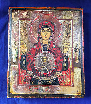 Antique Russian Orthodox Hand Painted Icon Virgin of Sign 19 th. century