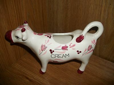 E-3801 Pink and Burgundy Flowered Porcelain Cow Creamer