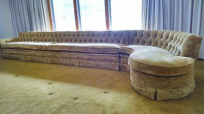 Vintage Sofa: Early 1970s Two-Piece Henredon, Curved Sectional Gold Velvet, MINT