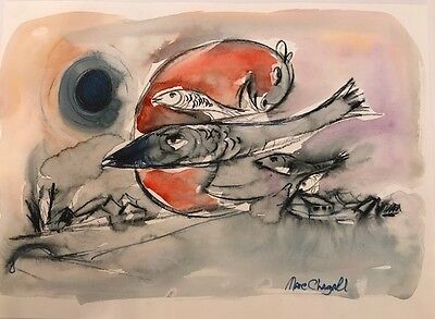 CHAGALL -ORIGINAL PAINTING/ GOUACHE DRAWING, signed Chagall,Paperwork,1 WK.SALE