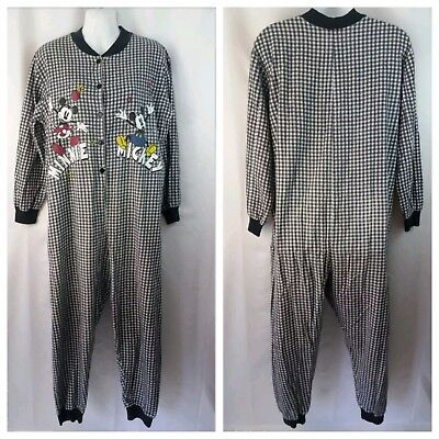 Disney Mickey Minnie Mouse Adult M One Piece Flannel Pajamas Black White Checks