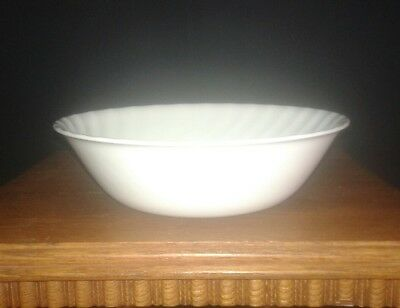 "Corelle ""Enhancements"" White Swirl Vegetable Serving Bowl 8 1/2"""