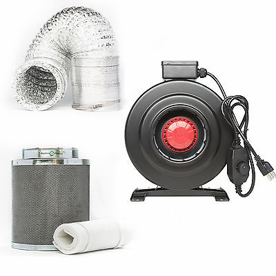 Hydroponic Inline Duct Fan 4inch 6inch 8inch  Filter with 25 feet Ducting Kit