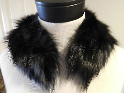 Glossy And Fluffy Authentic  Black Fox Collar For Trim Or Craft