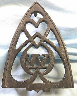 "Vintage Antique Iron Rest Stand Trivet Cast Iron ""W"" with Double Hearts"