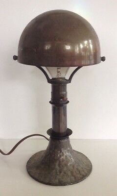 Antique CC & B Co Arts & Crafts Mission Bankers Lamp Helmet Shade Hammered Base
