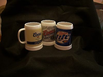 Coors,Coors lite,and Miller lite stein