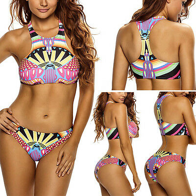 2e29d2642ec28 2019 Mulitcolor Geometric Print Pad Bra Razor Back Top Bikini Bathing Suit  M-XL