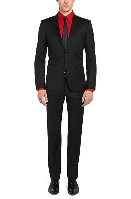 $1295 HUGO BOSS men BLACK WOOL 2-BUTTON SUIT JACKET BLAZER SPORT COAT PANTS 38 R