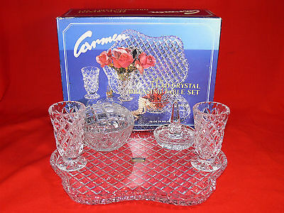 Vintage Polonia CARMEN Crystal Glass 6 pc Dressing Table Set & Box In Ex. Cond