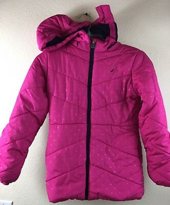 Nautica Girls Jacket with hood Long Sleeve Full Zip Pink Puffer coat Size 10