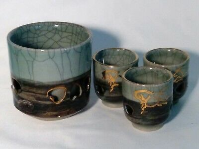 "4 Somayaki ""Golden Horse"" Tea Sake Cups~c1954-1994"