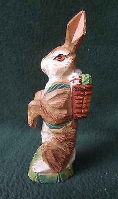 vintage BUNNY RABBIT Carved & Painted Wood