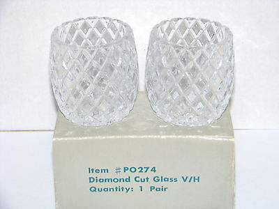 PartyLite Diamond Cut Votive Candle Holder Set of 2 In Box P0274