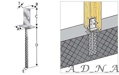 HEAVY DUTY GALVANISED -INTERNAL- POST SUPPORT FOOT THICKNESS: 8mm;HEIGHT: 335mm