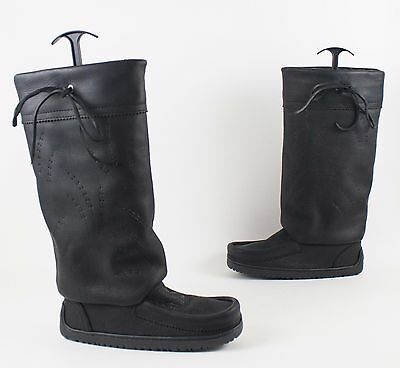 NEW Manitobah Mukluks Tall Gatherer Black Leather Boots US 7