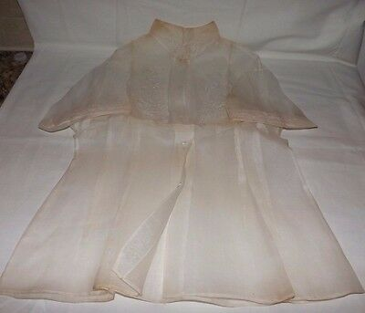 Vintage Chinese Beige Color Very SHEER Short Sleeve BLOUSE (Size 36)