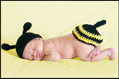 Newborn Baby Girl Crochet Knit Clothes Photo Photography Prop Costume Hat /bee