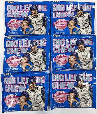 908020 6 x 60g PACKETS OF BIG LEAGUE CHEW BUBBLEGUM, CURVEBALL COTTON CANDY! USA