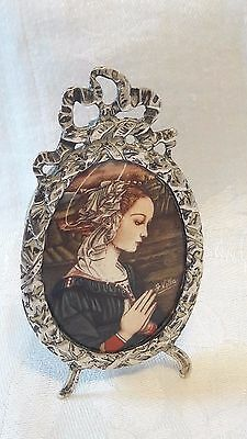old miniatura  Hand painted  portrait on porcelain with sterling silver  frame