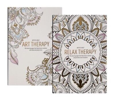 2X Adult Art Therapy Relaxing Anti-Stress Colouring Book 240 page Artistic Adult