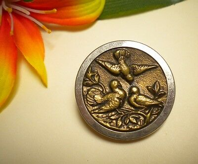 Antique Picture Button Of Birds Coming Home To Roost Brass With White Metal Rim
