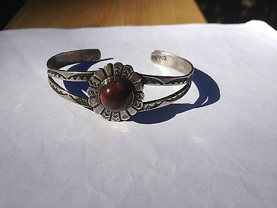 Vintage Navajo UITA 22 Sterling Silver stamped bracelet cuff with stone setting