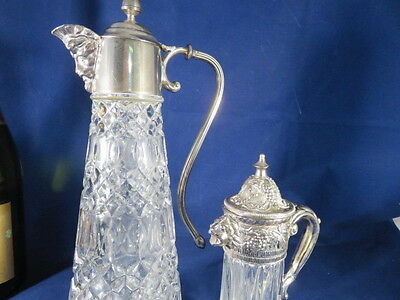 2 Vintage Jug Bottles Decanter ? Glass & Slver Plate With Character Faces