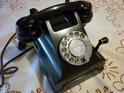 Vintage Retro 300 Series Blk Bakelite Phone - Vg Cond - Working - Magneto Fitted
