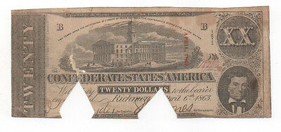 Civil War Confederate CSA T-58 $20 Note Obsolete Currency 1862 Tennessee Capital