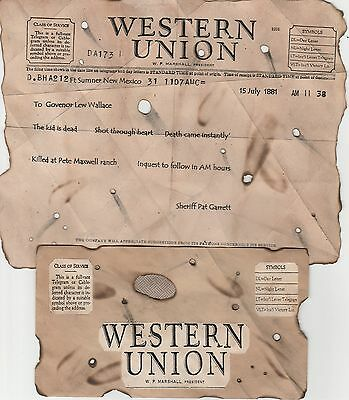 Billy Th Kid~Old West Wanted Poster Western Outlaw Bandit Garrett Bank Robber