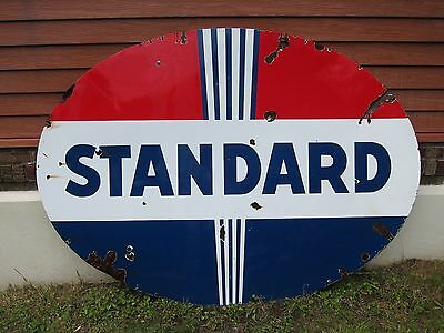Vintage Standard Porcelain Sign No Neon Gas Station Oil Double Sided Non Lighted