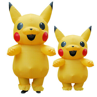 USA Adults Inflatable Pikachu Costume Pokemon Cosplay Halloween Costume Outfit%