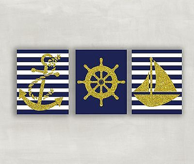 Nautical Nursery Decor Navy Blue and Gold Anchor Sail Boat 8x10 Unframed Prints