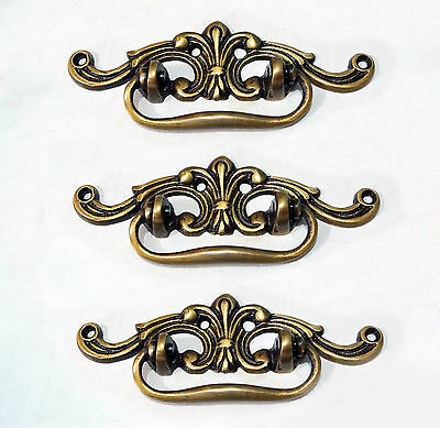 Set of 3 pcs Vintage French Artistic Handle Brass Handle Cabinet Handle Pulls