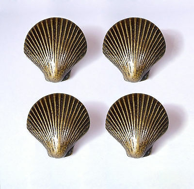 Set of 4 pcs Vintage Clam SHELL Solid Brass Cabinet Pull knobs