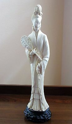 "Asian Oriental Female Ivory Colored Resin Statue Figurine 16"" Tall"