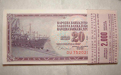 Yugoslavia P88 1981 20 Dinar Uncirculated Bundle of 100 Consecutive Banknotes