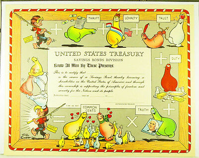 Ultra-Rare Al Capp 1948 Savings Bonds Certificate issued by US Treasury Dept.