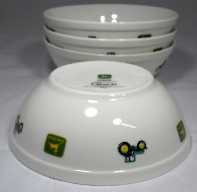 "4 John Deere Tractor 7"" Soup Cereal Bowls Gibson Very Good Condition Green White"