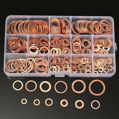 280Pcs 12 Sizes Assorted Solid Copper Crush Washers Seal Flat Ring Set With Box