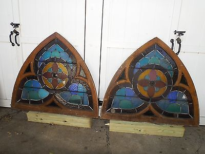 Stained Glass 2 CHURCH WINDOWS Antique CATHEDRAL ARCHED Slag Glass p/u LI, NY