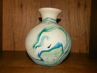 "Nemadji Pottery ~ Greens & Blues ~ 4.5"" Vase ~ USA"